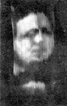 "The first known photograph of a moving image produced by Baird's ""televisor"", circa 1926 (The subject is Baird's business partner Oliver Hutchinson)"