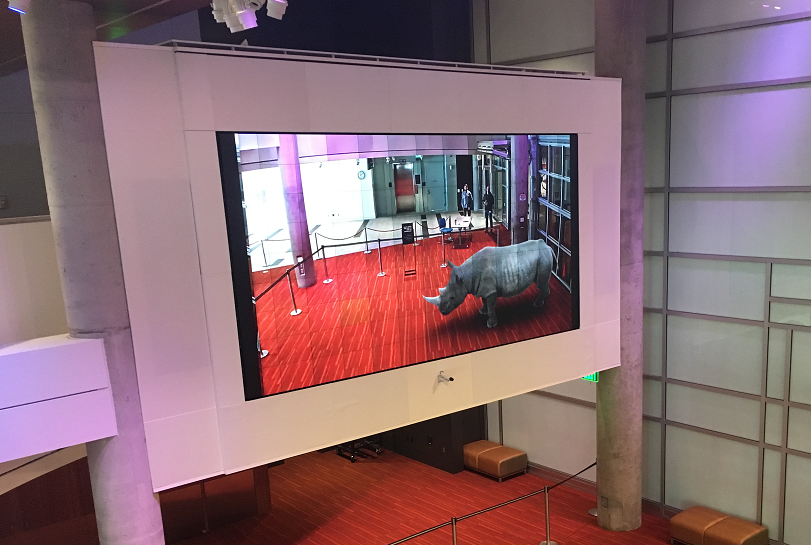 INDE's 3D rhino walking the museum floor at DMNS