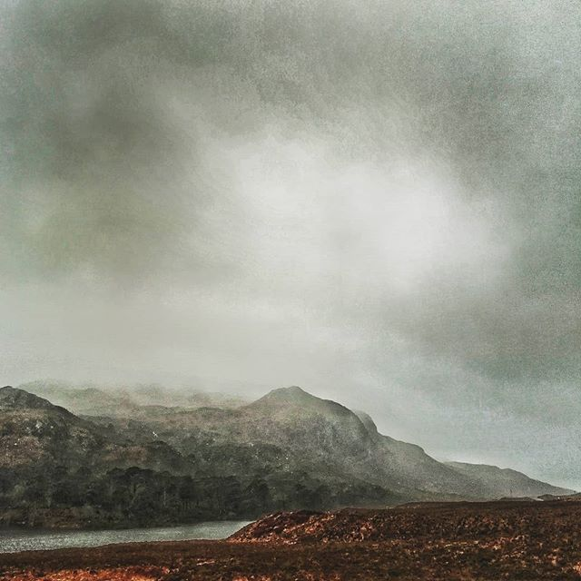 Heavily processed image, but makes a cool looking scene eh? Nothing wrong with editing images so long as it helps to envoke a feeing  #vscocam #vsco #highlands #scotland #torridon #mountains