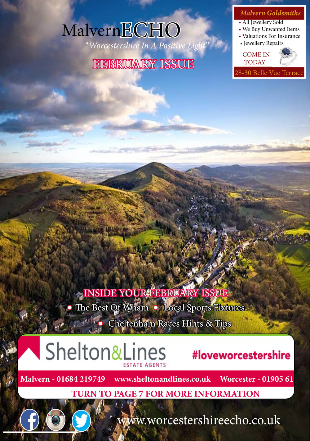 The February Edition - Your New Look Malvern Echo is now out! Look our for it in your City Centre and Selected Estates in Malvern and the Surrounding Areas.