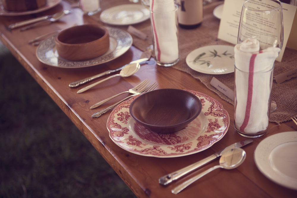 custom place setting china dishees outdoor
