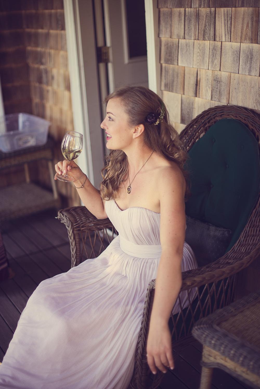 bride wedding smile wine relax