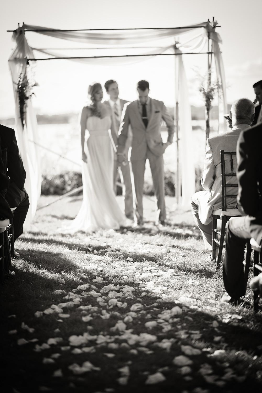 bride groom alter wedding arch coast ocean New England bw