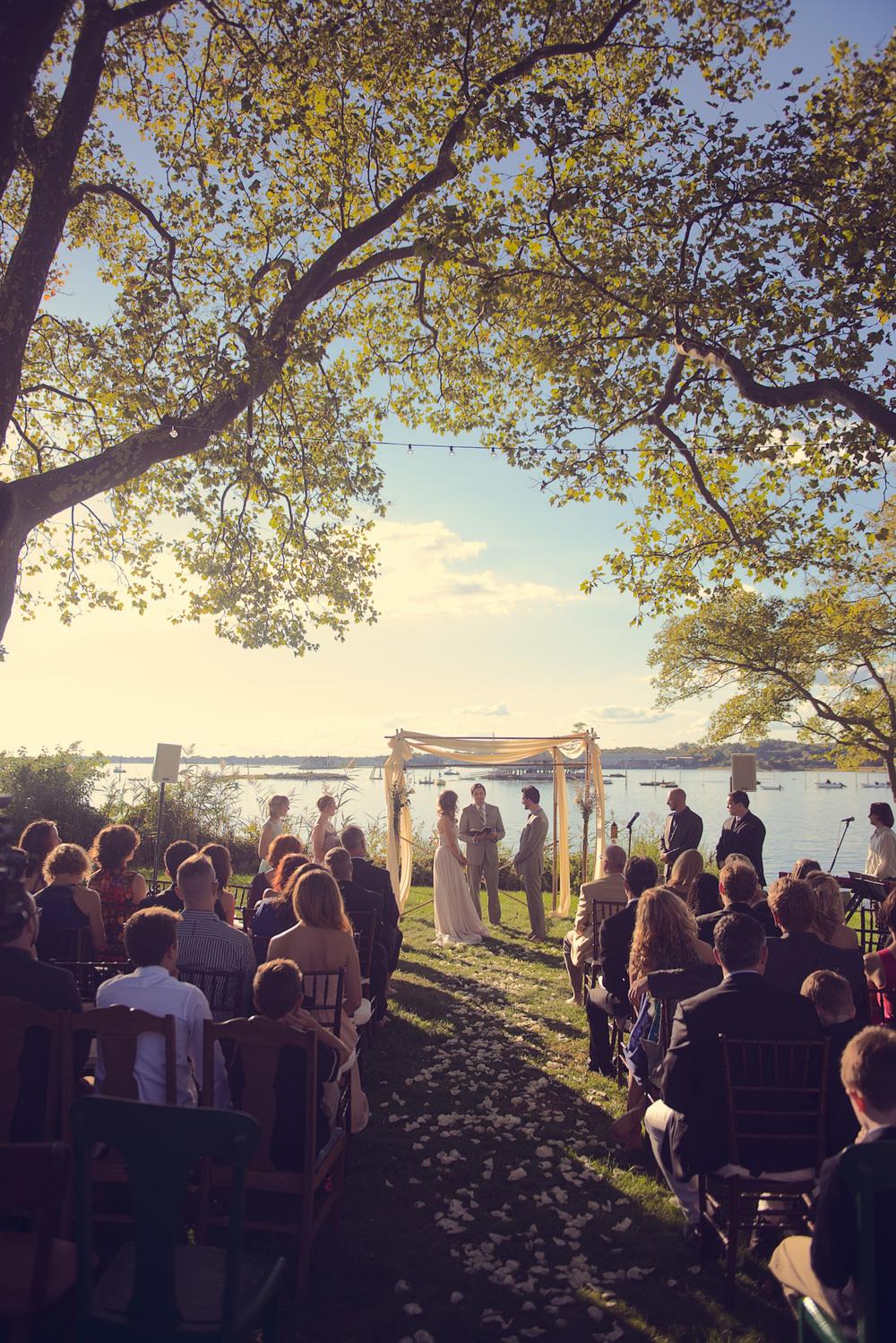 bride groom wide venue Linden Point House alter wedding arch coast ocean New England