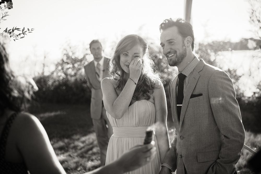 bride groom tears joy emotion wedding arch coast ocean New England