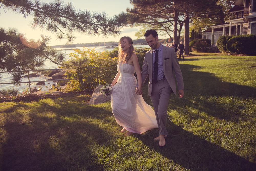 bride groom sunshine husband wife celebration coast ocean New England