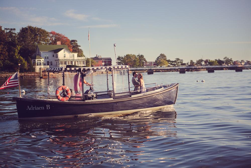 bride groom husband wife coast ocean New England boat ride Adriaen B