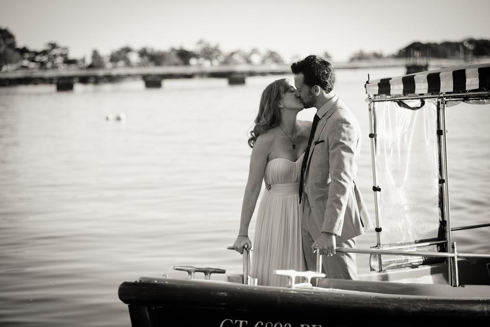 bride groom husband wife celebration coast ocean New England boat ride Adriaen B kiss love