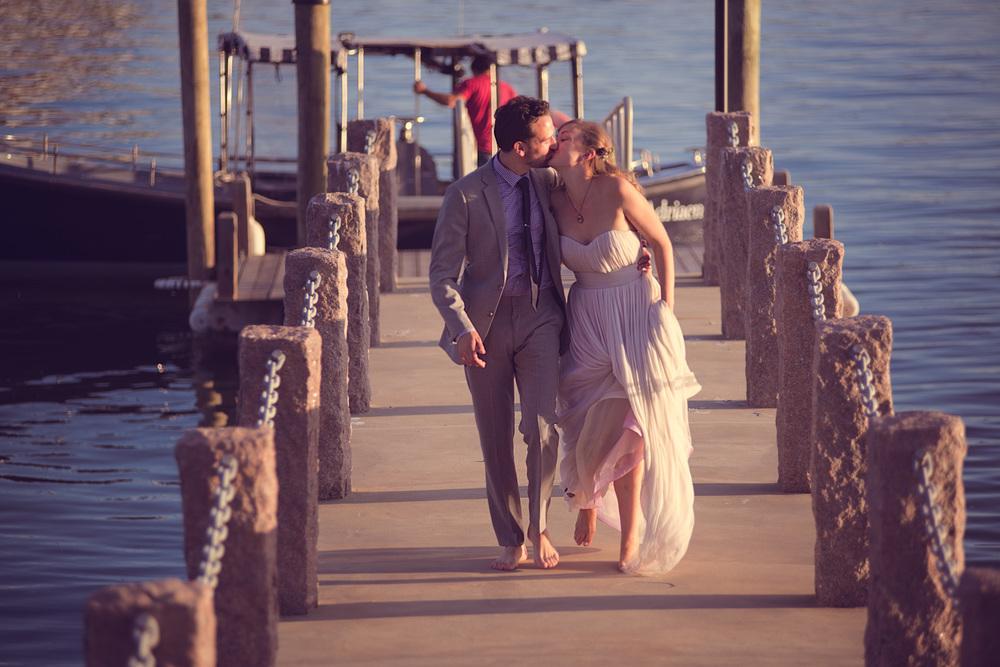 bride groom kiss pier husband wife celebration coast ocean New England