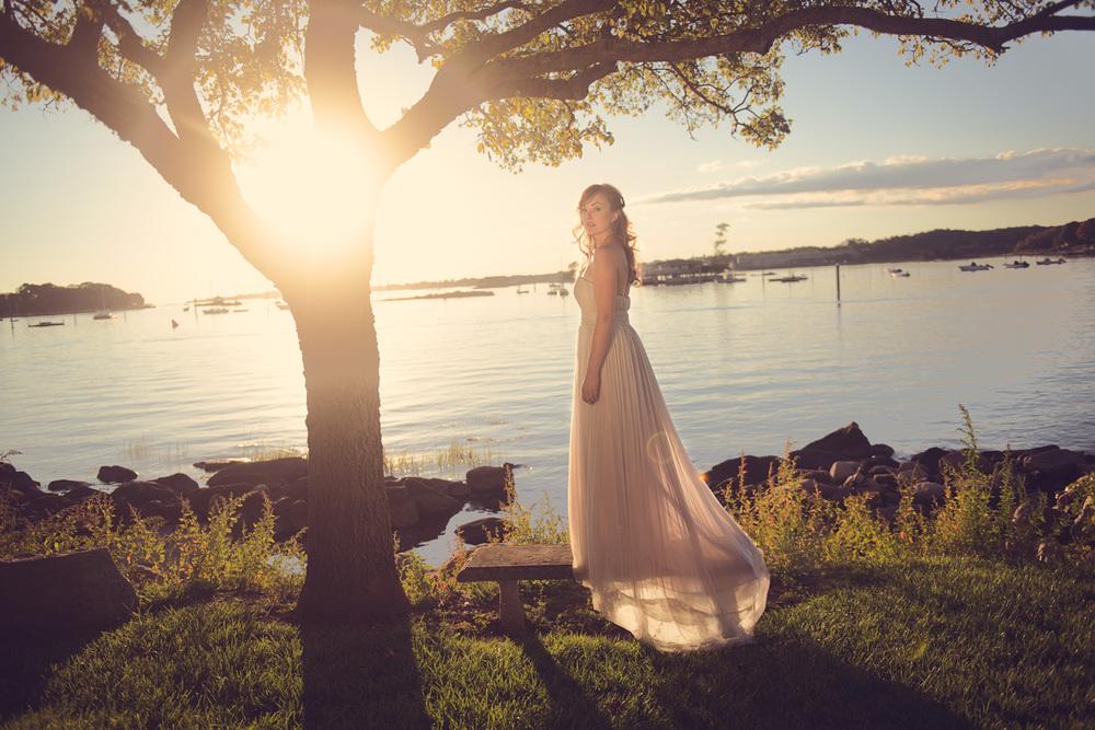 bride sunset bench tree beautiful wife coast ocean New England portrait