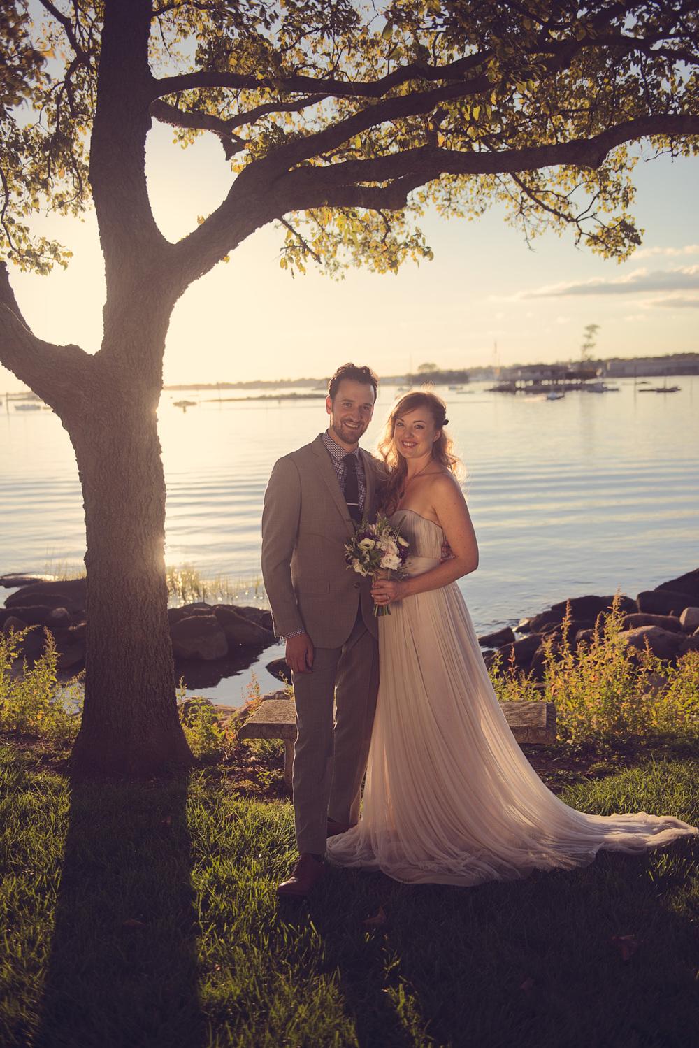 bride groom sunset bench tree beautiful husband wife coast ocean New England