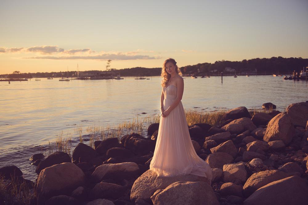 bride portrait sunset beautiful wife THPHOTO boulders rocks beach New England Connecticut
