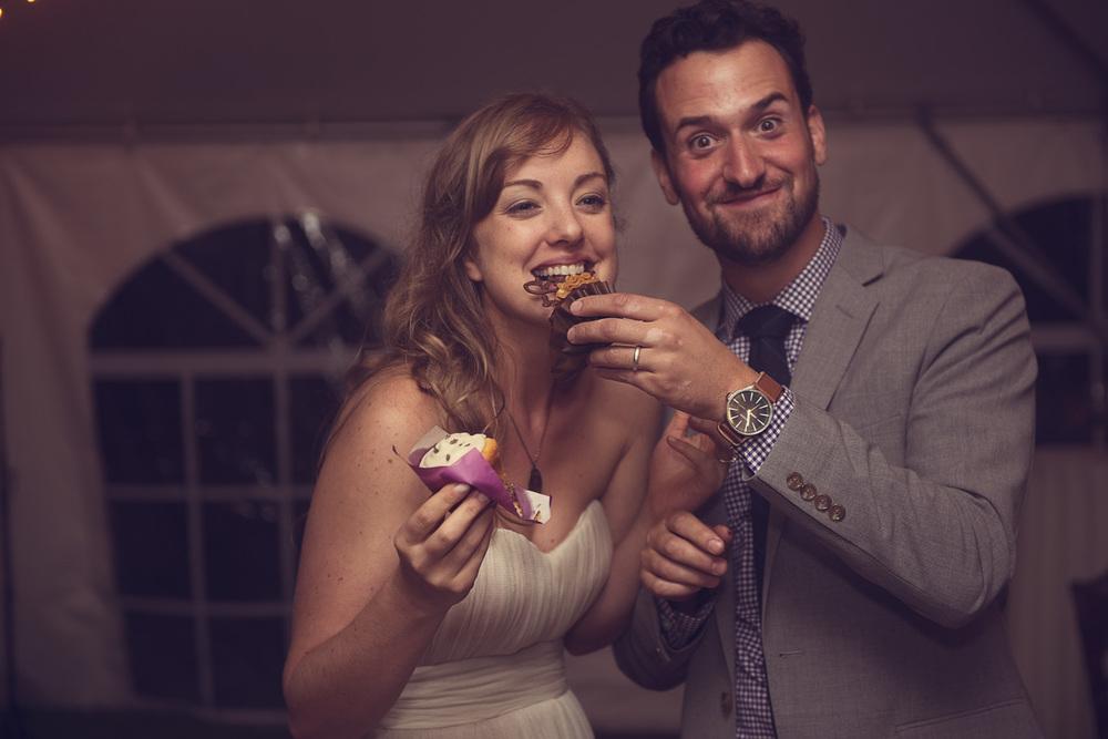 bride groom cupcake feeding dessert smile goofy husband wife married