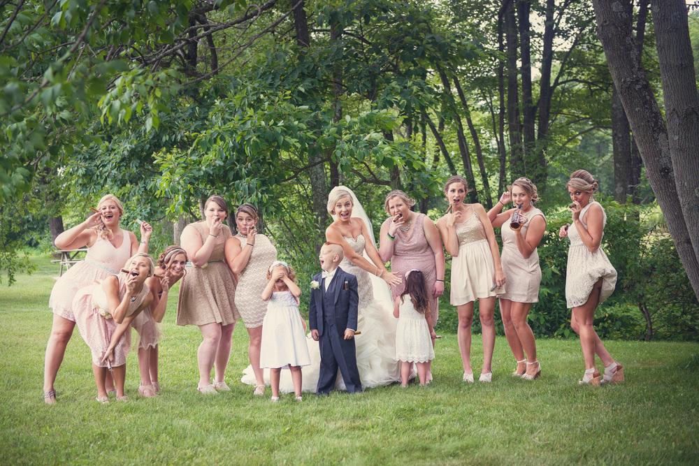 bride portrait bridesmiads dirty smoking