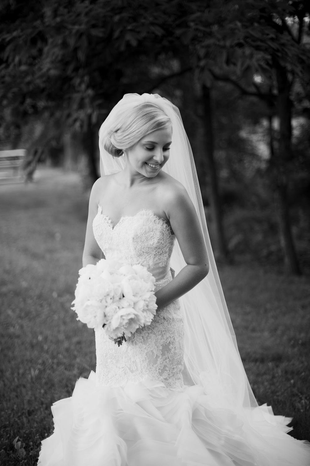 bride portrait dress lace veil forest bw bouquet