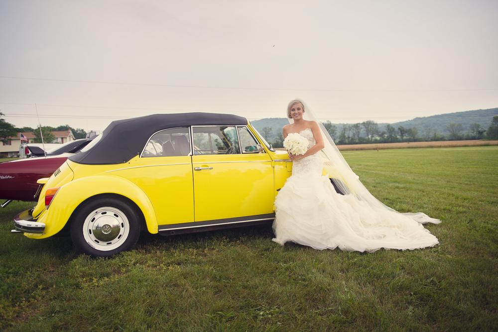 bride yellow bug Beetle Volkswagen car vintage