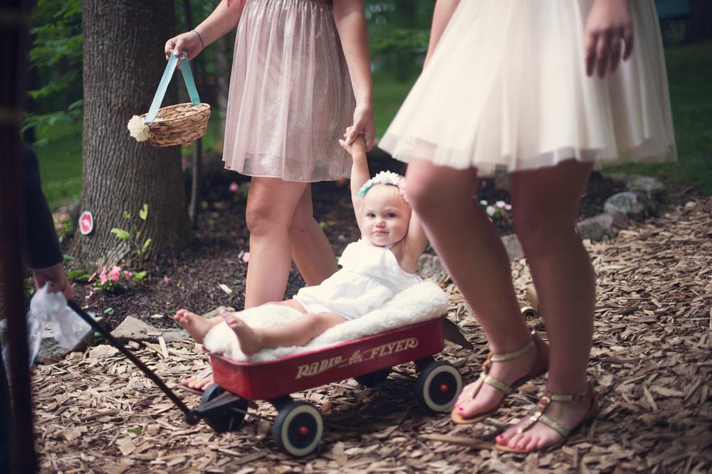 infant baby flower girl child wagon aisle