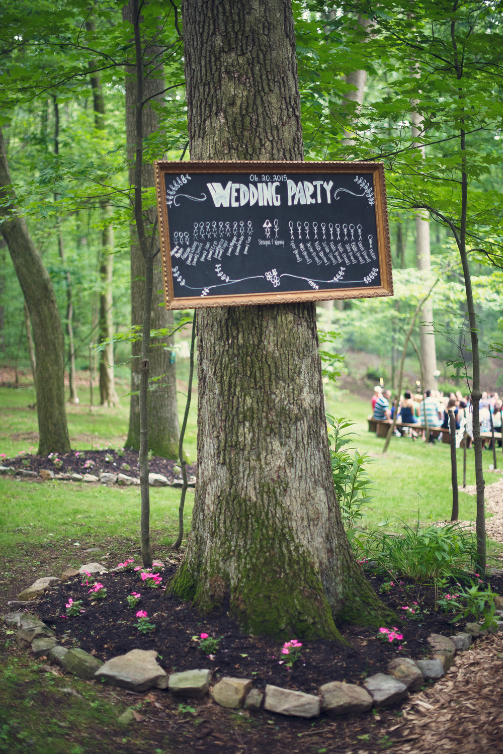 tree sign wedding party rustic outdoor inspiration