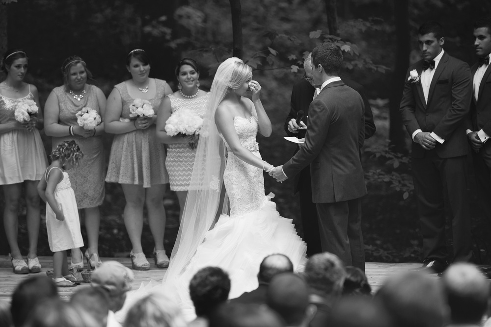 bride tears emotion groom ceremony outdoor rustic bw