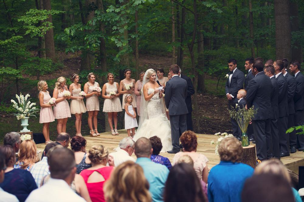bride vows groom ceremony outdoor rustic