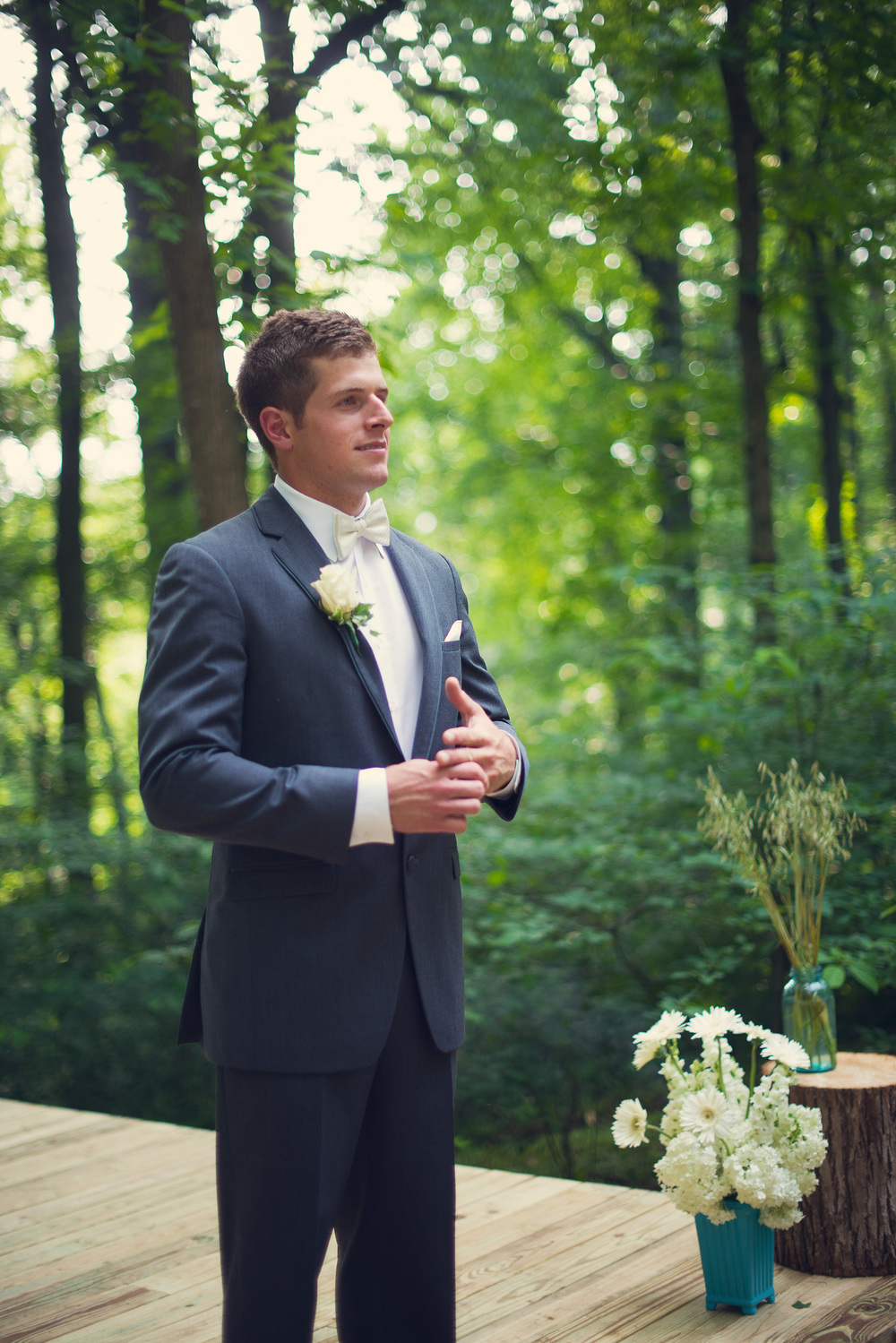 groom suit tuxedo forest background