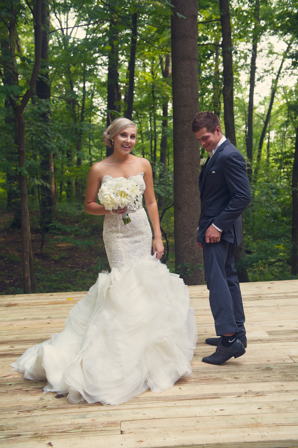 bride groom suit forest background nike socks