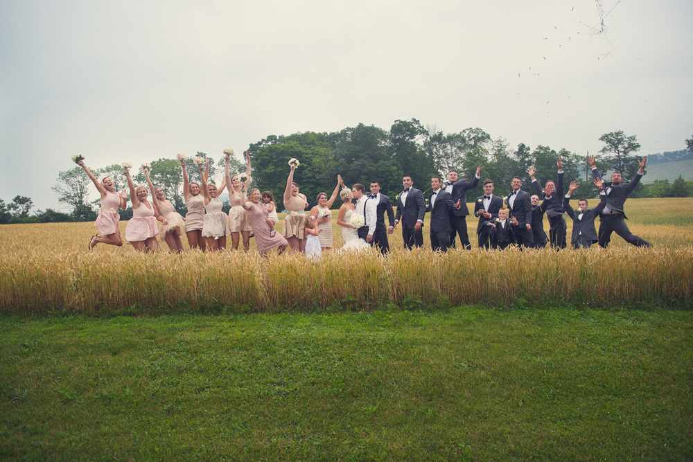 bridal party jump fun silly wedding bride groom portrait THPHOTO