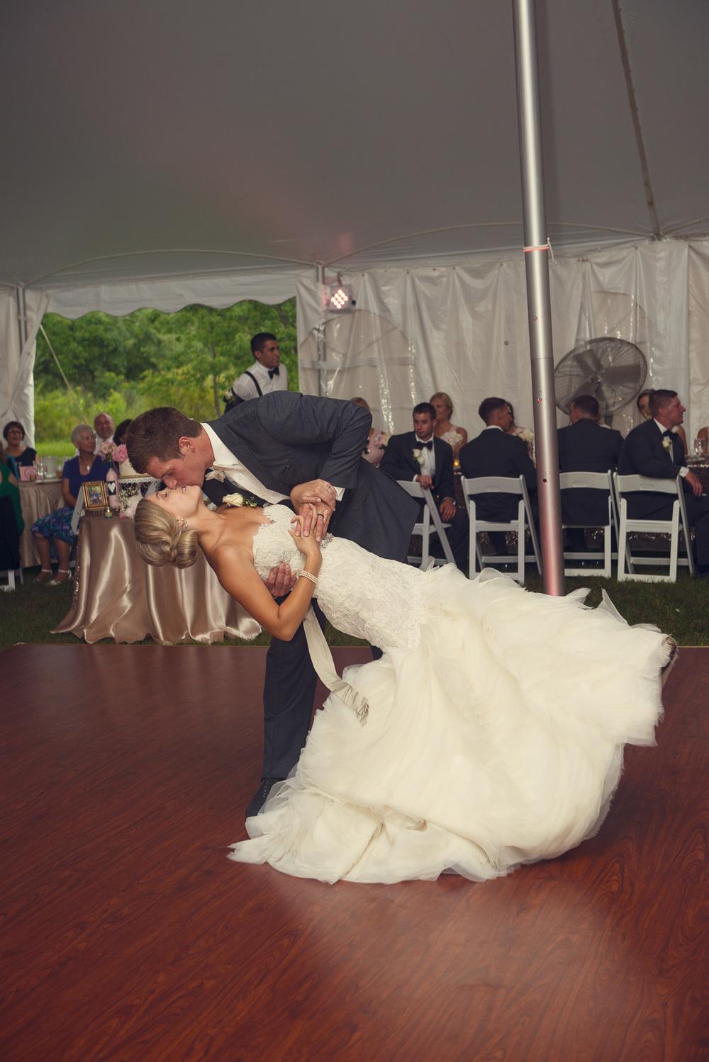 bride groom dip first dance reception dancing