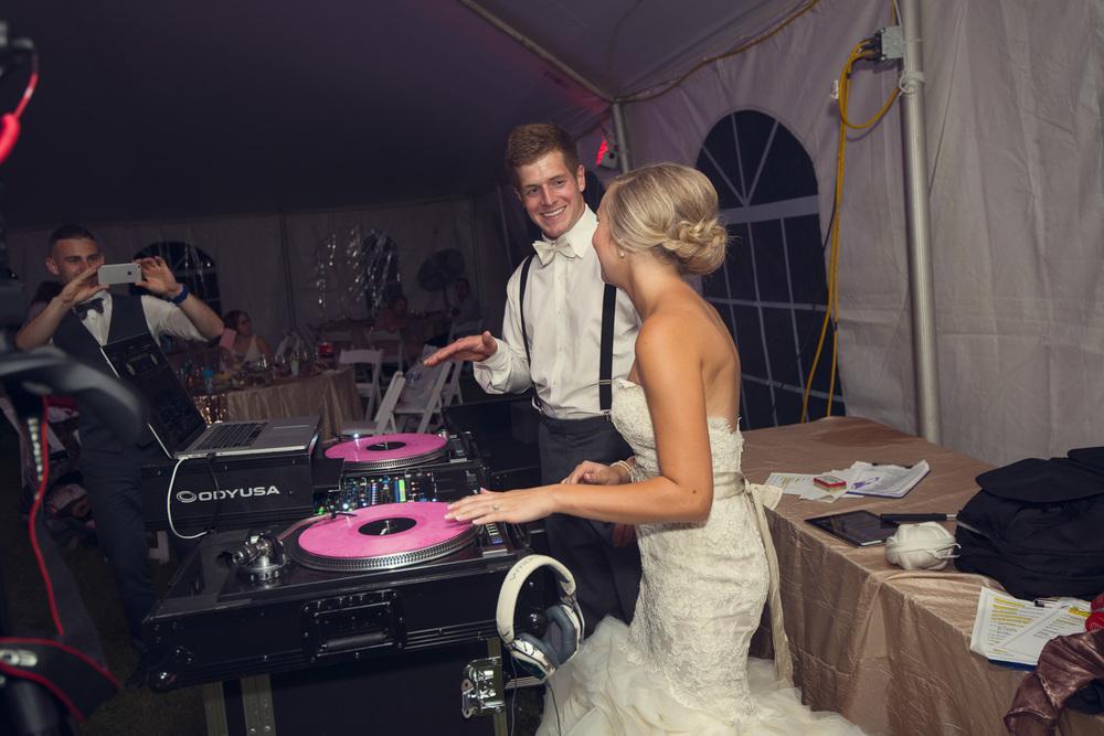 dance party reception dj record bride groom