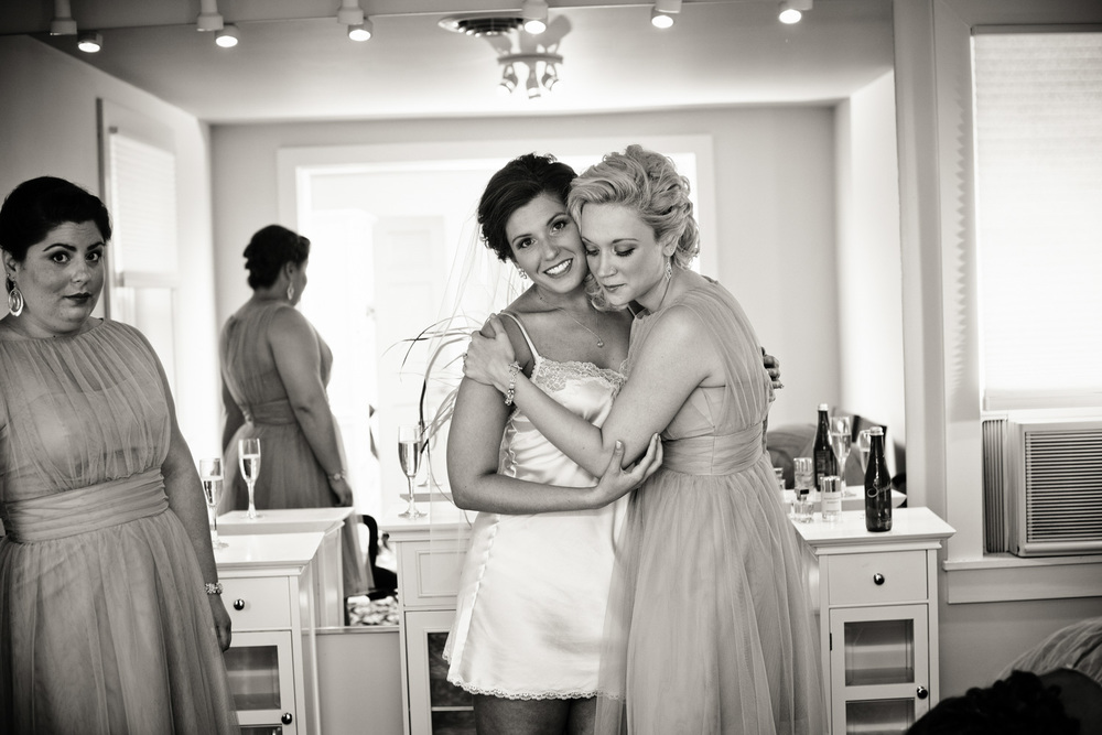 robes bride bridesmaids maid of honor bw portrait celebrate
