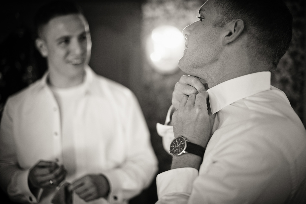 groom best man getting ready watch