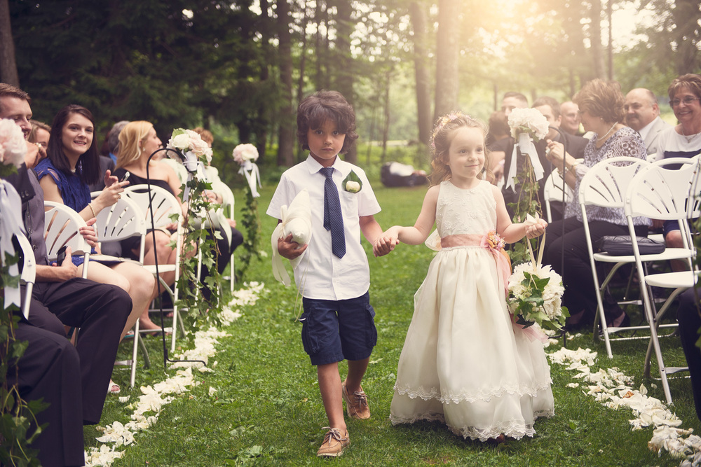 ceremony ring bearer flower girl aisle portrait THPHOTO