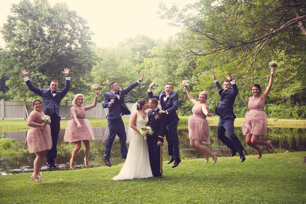 wedding bride groom jump fun bridal party marriage THPHOTO Mountain Spring Lake Hotel