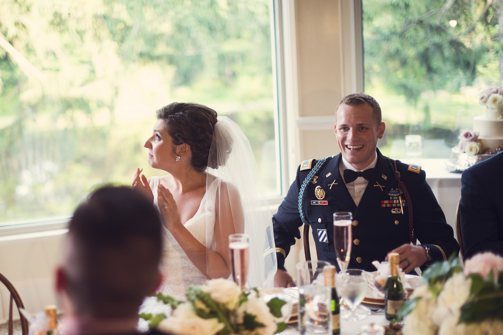 wedding bride tears joy groom army reception toast speech