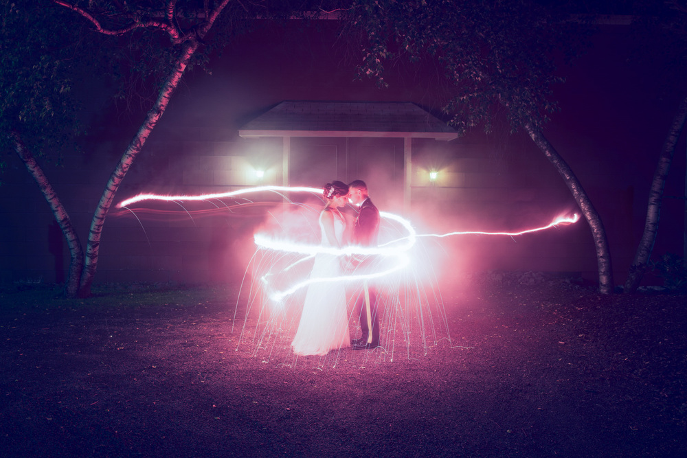 wedding bride groom husband wife marriage sparklers magical long exposure