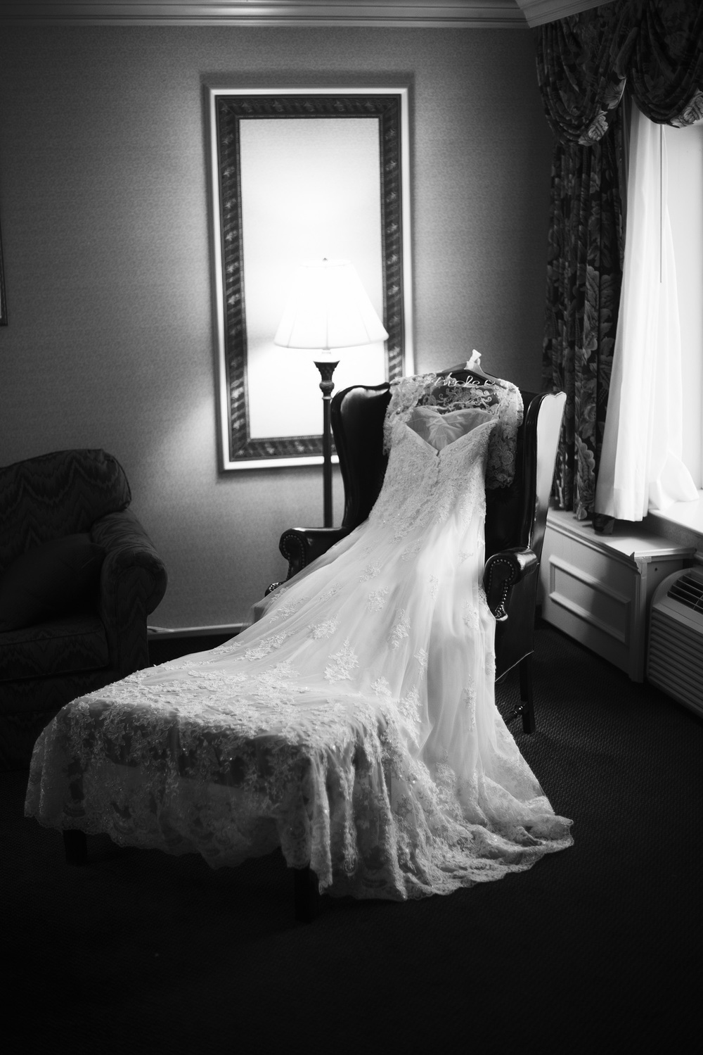 wedding dress gown lace train bw