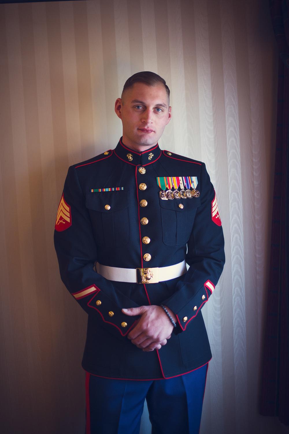 American Marine groom medals window light portrait THPHOTO