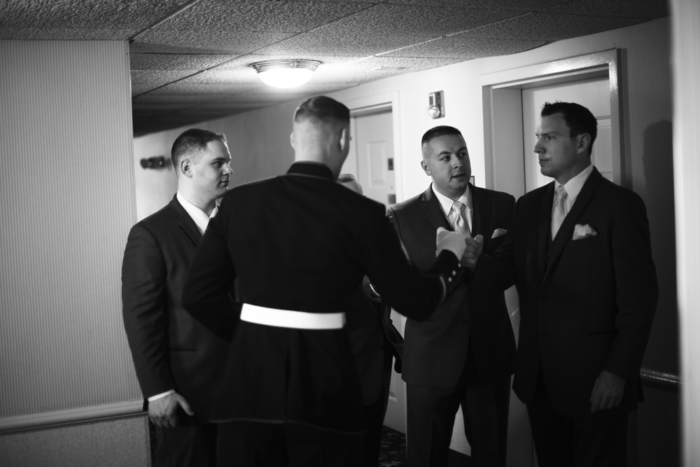 marine groomsmen bw candid
