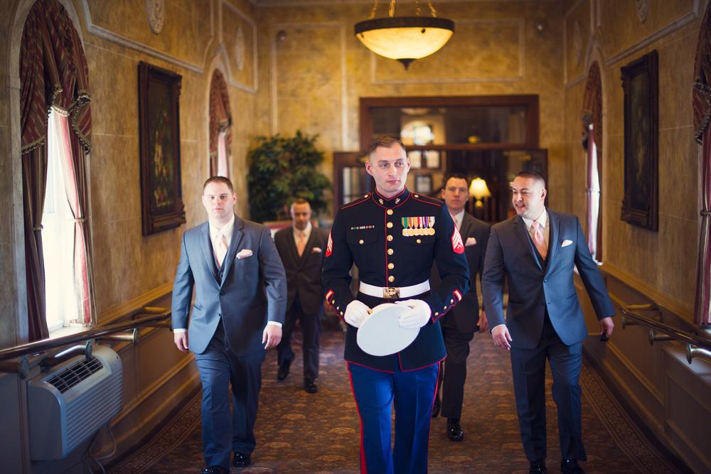 American Marine groom groomsmen walking