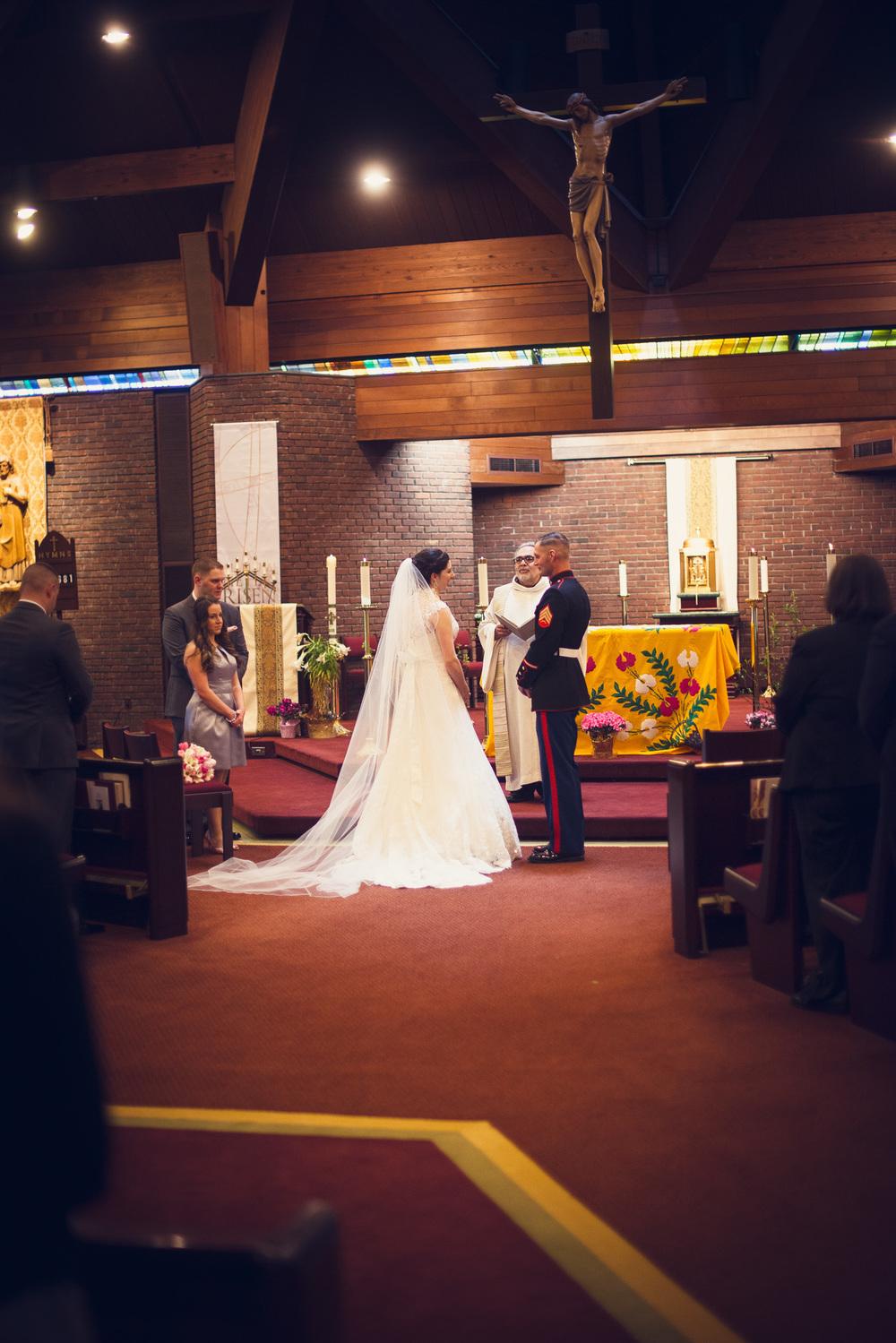 bride groom marine alter wedding ceremony church portrait THPHOTO