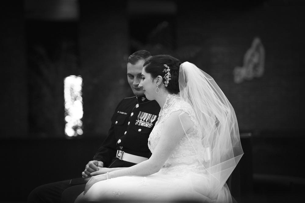 bride groom marine alter bw wedding ceremony church portrait THPHOTO