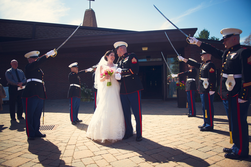 bride groom marine kiss husband wife couple married wedding portrait sword salute tradition THPHOTO