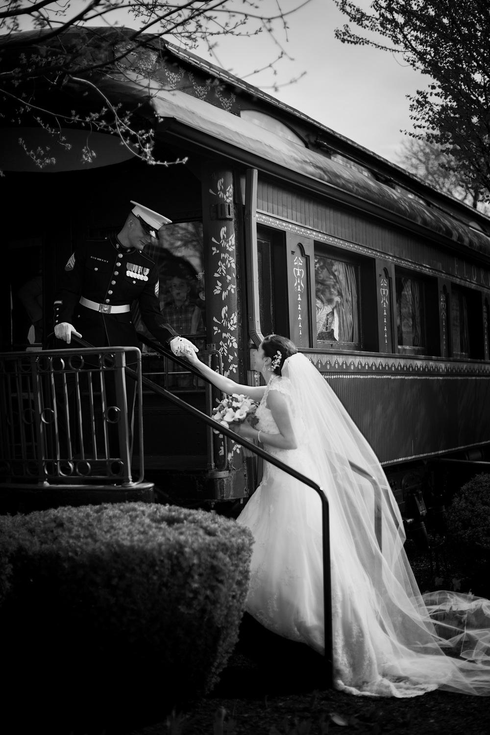 groom bride train aboard portrait THPHOTO