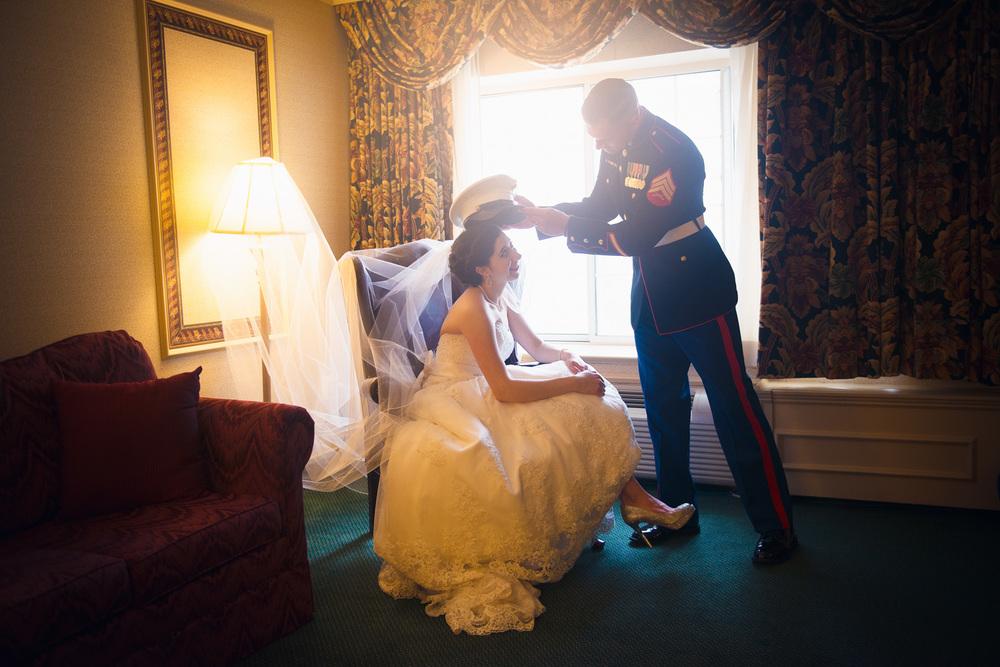 bride smiling groom hat marine husband wife window light portrait THPHOTO