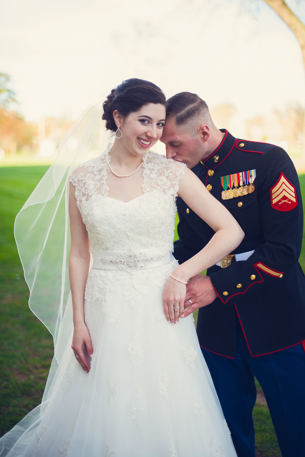 groom American Marine outdoor bride wife husband kiss portrait THPHOTO