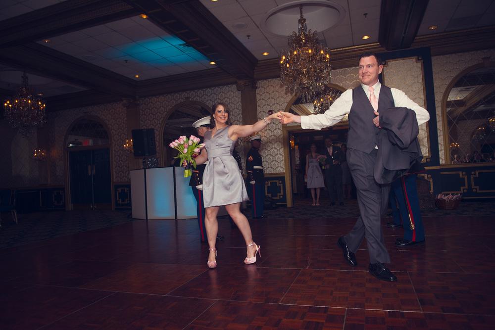 guest dancing introduction bridal party reception smiling portrait THPHOTO