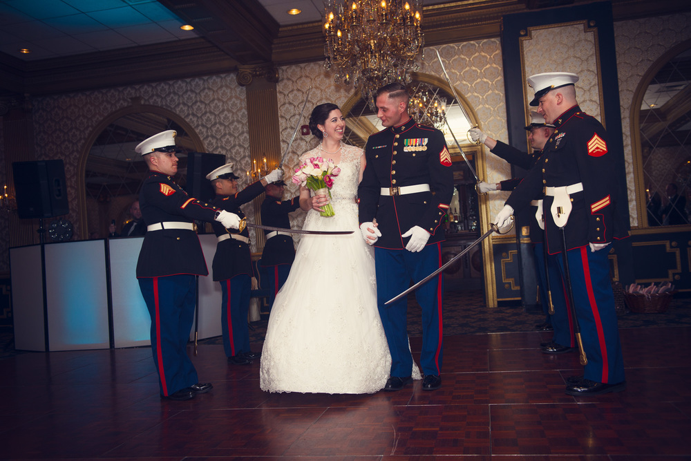 introduction bride groom marines sword salute reception smiling portrait THPHOTO