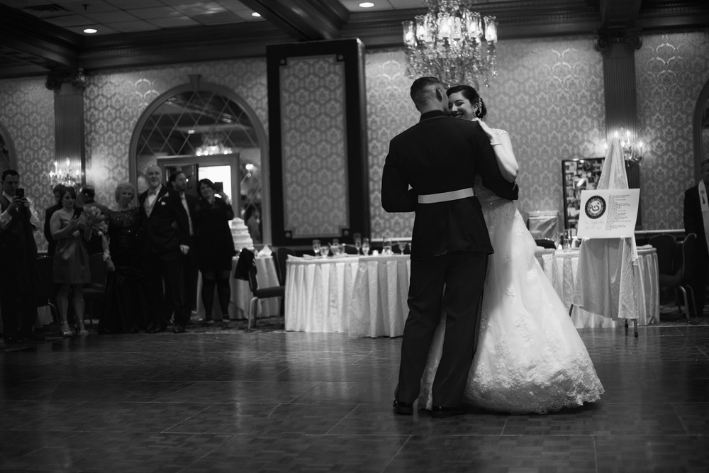 bride groom first dance husband wife reception bw