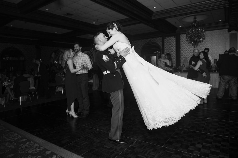 bride groom lift bw dance husband wife reception