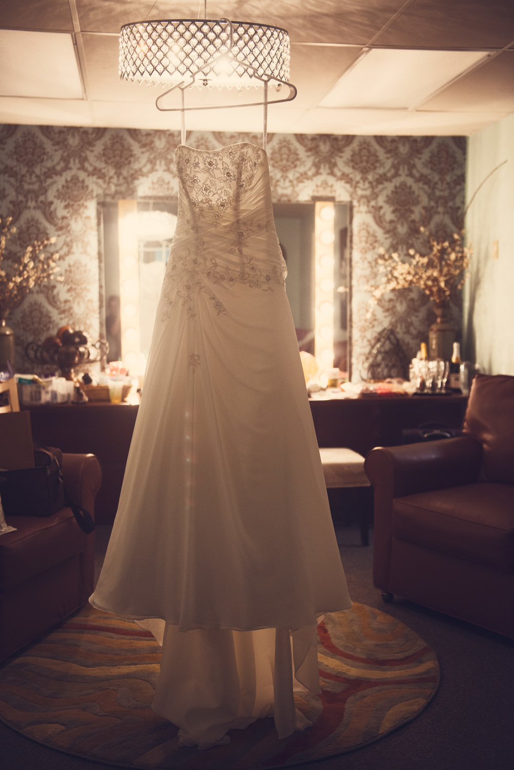 wedding dress lace hanging